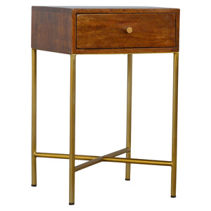Marika Side Table comes in chestnut and a gold finish with a gold frame style and is available from roomshaped.co.uk