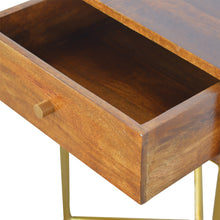 Load image into Gallery viewer, Marika Side Table comes in chestnut and a gold finish with a gold frame style and is available from roomshaped.co.uk