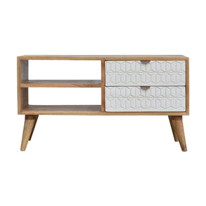 Fredrik Media Unit comes in white with a geometric style and is available from roomshaped.co.uk