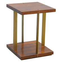 Load image into Gallery viewer, Juri Side Table comes in chestnut and a gold finish with a gold frame style and is available from roomshaped.co.uk