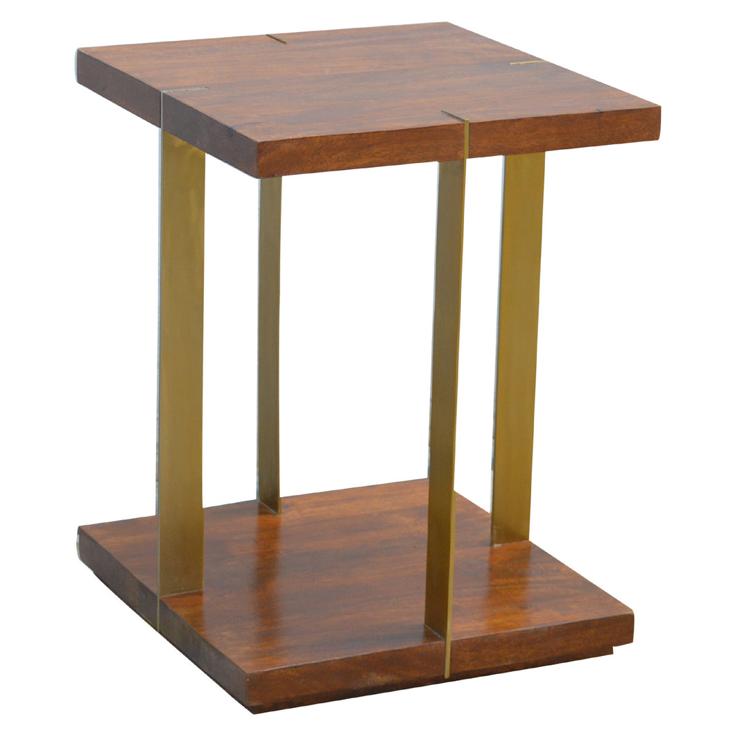 Juri Side Table comes in a chestnut finish with a metallic style and is available from roomshaped.co.uk