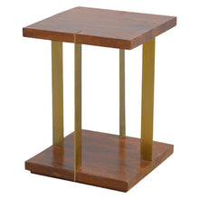 Load image into Gallery viewer, Juri Side Table comes in a chestnut finish with a metallic style and is available from roomshaped.co.uk