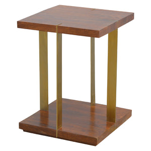 Juri Side Table comes in chestnut and a gold finish with a gold frame style and is available from roomshaped.co.uk