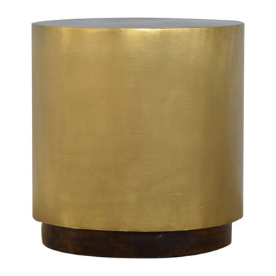 Leks Side Table comes in chestnut and a gold finish with a gold frame style and is available from roomshaped.co.uk