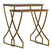 Load image into Gallery viewer, Katja Nesting Side Tables comes in chestnut and a gold finish with a gold frame style and is available from roomshaped.co.uk