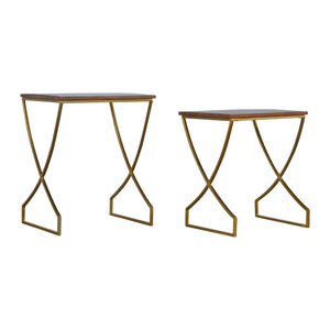 Katja Nesting Side Tables comes in chestnut and a gold finish with a gold frame style and is available from roomshaped.co.uk