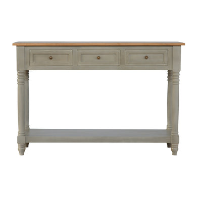 Luna Console Table comes in grey with a country style and is available from roomshaped.co.uk