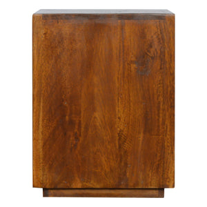 Rasmus Bedside Table comes in chestnut and a gold finish with a metallic style and is available from roomshaped.co.uk