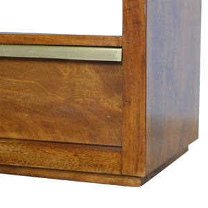 Maksim Low Unit comes in chestnut and a gold finish with a gold frame style and is available from roomshaped.co.uk