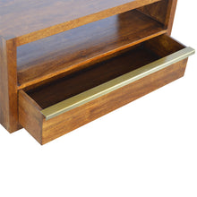 Load image into Gallery viewer, Maksim Low Unit comes in chestnut and a gold finish with a gold frame style and is available from roomshaped.co.uk