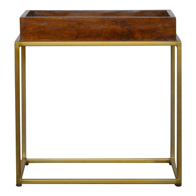 Churston Butler Table comes in chestnut and a gold finish with a gold frame style and is available from roomshaped.co.uk