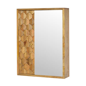 Ales Mirror Cabinet comes in an oak finish with a carved style and is available from roomshaped.co.uk