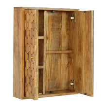 Load image into Gallery viewer, Ales Mirror Cabinet comes in an oak finish with a carved style and is available from roomshaped.co.uk