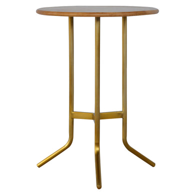 Daggi Side Table comes in a gold finish and an oak finish with a gold frame style and is available from roomshaped.co.uk