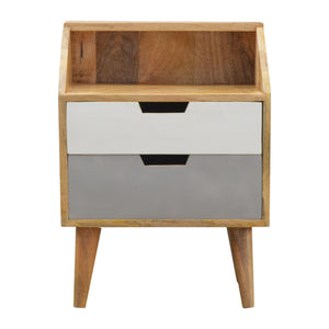 Nora Bedside Table comes in grey with a painted style and is available from roomshaped.co.uk