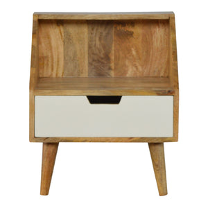 Emilia Side Table comes in an oak finish with a painted style and is available from roomshaped.co.uk