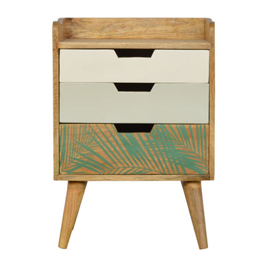 Gustav Bedside Table comes in green and white with a painted style and is available from roomshaped.co.uk