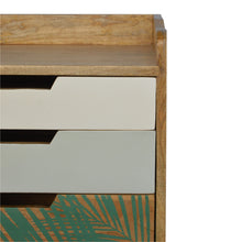 Load image into Gallery viewer, Gustav Bedside Table comes in green and white with a painted style and is available from roomshaped.co.uk