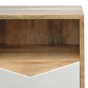 Venla Bedside Table comes in white with a painted style and is available from roomshaped.co.uk