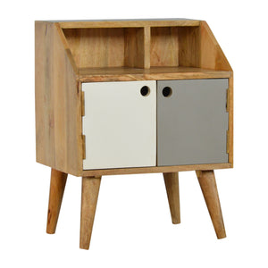 Anders Bedside Table comes in grey with a painted style and is available from roomshaped.co.uk