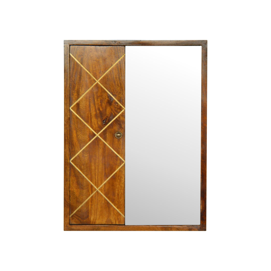 Ivona Mirror Cabinet comes in chestnut with a metallic style and is available from roomshaped.co.uk