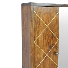 Load image into Gallery viewer, Ivona Mirror Cabinet comes in chestnut with a metallic style and is available from roomshaped.co.uk