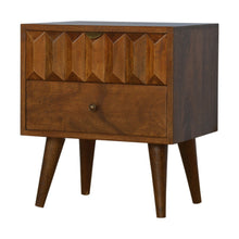 Load image into Gallery viewer, Milos Bedside Table comes in chestnut with a carved style and is available from roomshaped.co.uk
