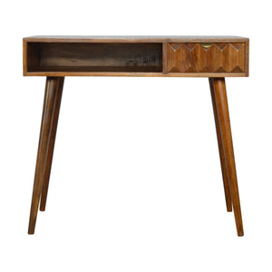 Eltisley Desk comes in chestnut with a carved style and is available from roomshaped.co.uk