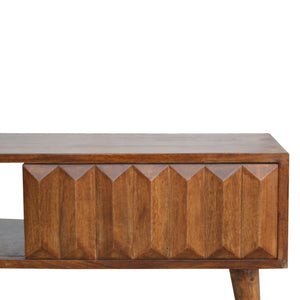 Liliana Media Unit comes in chestnut with a carved style and is available from roomshaped.co.uk