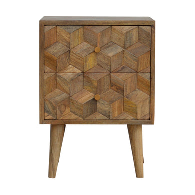 Dominika Bedside Table comes in an oak finish with a carved style and is available from roomshaped.co.uk