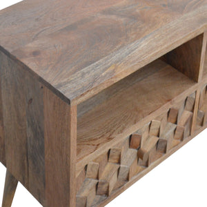 Tatiana Media Unit comes in an oak finish with a carved style and is available from roomshaped.co.uk