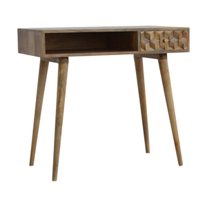 Swaffham Console Desk comes in an oak finish with a carved style and is available from roomshaped.co.uk