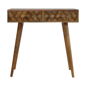 Stamford Console Table comes in an oak finish with a carved style and is available from roomshaped.co.uk
