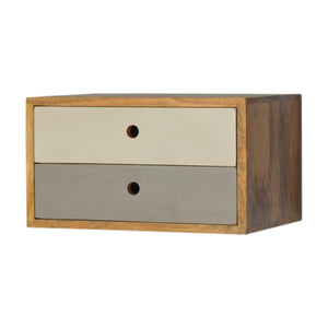 Juni Bedside Floating Table comes in grey and white with a painted style and is available from roomshaped.co.uk