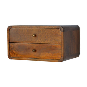 Julia Bedside Table comes in chestnut with a deco style and is available from roomshaped.co.uk