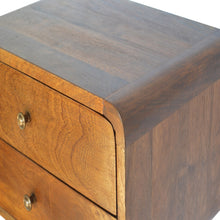 Load image into Gallery viewer, Julia Bedside Table comes in chestnut with a deco style and is available from roomshaped.co.uk