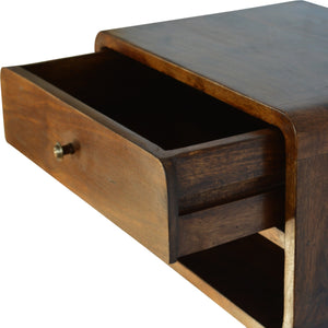 Levi Floating Cabinet comes in chestnut with a deco style and is available from roomshaped.co.uk