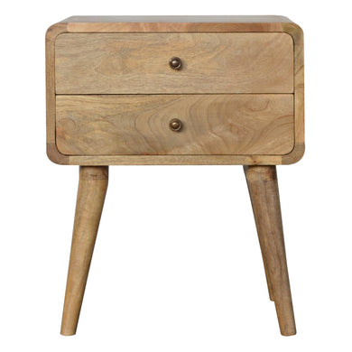Ellie Bedside Drawers comes in an oak finish with a deco style and is available from roomshaped.co.uk