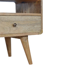 Load image into Gallery viewer, Selma Media Unit comes in an oak finish with a deco style and is available from roomshaped.co.uk