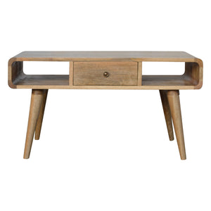 Saga Coffee Table comes in an oak finish with a deco style and is available from roomshaped.co.uk