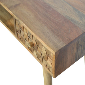 Denny Desk comes in an oak finish with a carved style and is available from roomshaped.co.uk