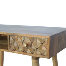 Load image into Gallery viewer, Denny Desk comes in an oak finish with a carved style and is available from roomshaped.co.uk