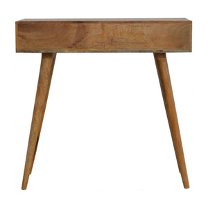 Swavesey Console Table comes in an oak finish with a carved style and is available from roomshaped.co.uk