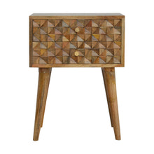Load image into Gallery viewer, Signe Bedside Table comes in an oak finish with a carved style and is available from roomshaped.co.uk