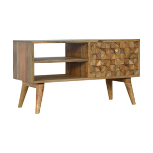 Vera Low Cabinet comes in an oak finish with a carved style and is available from roomshaped.co.uk