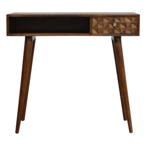Isabelle Laptop Desk comes in a chestnut finish with a carved style and is available from roomshaped.co.uk