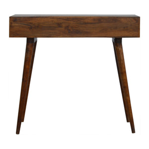 Isabelle Laptop Desk comes in chestnut with a carved style and is available from roomshaped.co.uk
