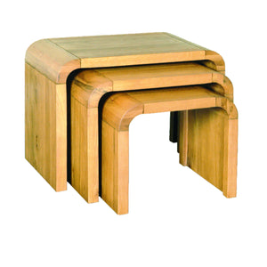 Aldo Nest of 3 Tables comes in a natural finish with a city style and is available from roomshaped.co.uk