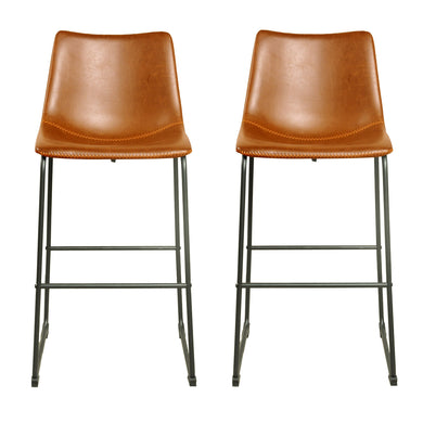 Andreas Bar Stool - Set of 2 comes in brown and chestnut and grey with a new industrial style and is available from roomshaped.co.uk