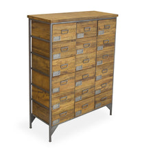 Load image into Gallery viewer, Andri 18 Drawer Apothecary Chest comes in a natural finish with a new industrial style and is available from roomshaped.co.uk